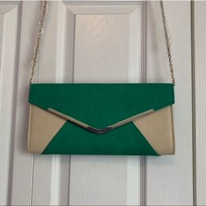 Green and beige clutch